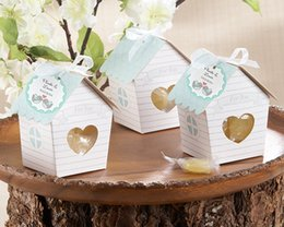 Wholesale Love Bird Nesting Box - Love Nest Bird House Favor Box Paper Candy Gift Boxes With Tag And Ribbon For Party favors Wedding Gift Wrap