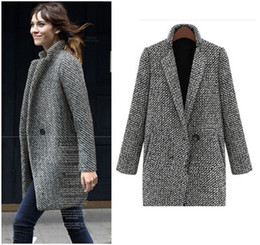 Wholesale Woolen Winter Coat Womens - Hot Sale Winter Wool Coat Jacket Womens 2017 New Fashion Europe Slim Single Breasted Coat Thick Woolen Jacket Coat Women