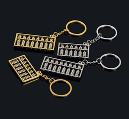 Wholesale Crosses Hang Car - Creative gifts gold and silver abacus metal key holder car advertising waist hanging key chain KR109 Keychains mix order 20 pieces a lot
