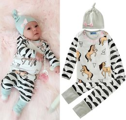 Wholesale Baby Clothes Tshirts - 2017 Boys Girls Baby Clothing Sets Long Sleeve tshirts Pants Hat 3Pcs Set Cotton Toddler Arrow Floral Print Boutique Clothes Outfits