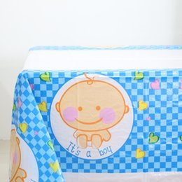 Wholesale plastic tablecloth decorations - Wholesale- 1pcs\lot Baby Shower Plastic Tablecloth Kids Boy Girl Favors Tablecover Happy Birthday Party Maps Decoration Cartoon Supplies