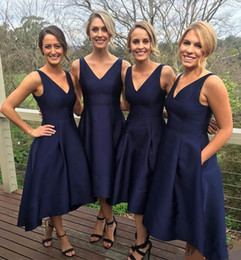 Wholesale Hi Lo Bridesmaids Dresses - Nave Blue Bridesmaid Dresses Long High Low Deep V Neck A Line Satin Bridesmaid Gowns Zipper Back Custom Made Cheap Wedding Party Dress