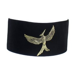 Wholesale Eagle Choker Necklace - Hiphop Rock Gothic Black Wide Velvet Choker Necklace with Antique Gold Eagle-shaped ornaments