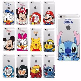 Wholesale Cartoon Character Iphone Covers - Funny Minnie Mickey Cartoon Soft Case For Apple i Phone 4 5 iPhone 6 7 S Plus SE 5S Samsung Characters Back Cover Skin Cover Cases Para