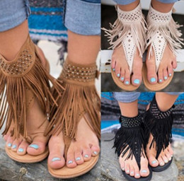 Wholesale Hot Selling Flip Flops - Fashion New Style Hot Selling Casual Women Summer Bohemia Slippers Flip Flops Flat Sandals Tassel Thong Shoes - Free Shipping + Free Gift
