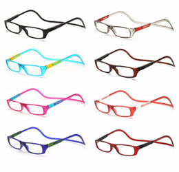 Wholesale Magnified Reading Glasses - Fashion Folding Magnets magnifying reading glasses magnetic Front Connect unisex eyeglasses hang folding reader Magnetic reading glasses