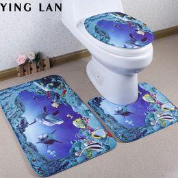 2019 design per servizi igienici Wholesale- 3pcs nuovo mondo mondo design bagno tappeto squalo cartone animato piedistallo coperchio mat carino toilette per la decorazione del bagno sconti design per servizi igienici