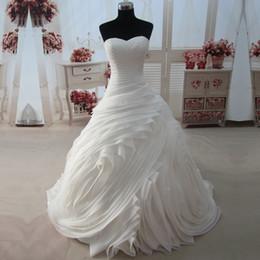Wholesale Sweep Tube - Real Photos Princess Wedding Dress Tube Cascading Ruffle Bride Robe De Mariage vestidos de noivas Vintage