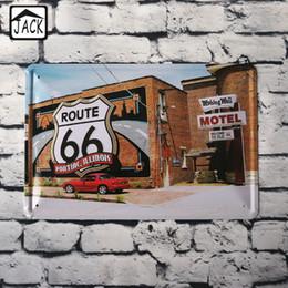 Оловянные вагоны онлайн-Маршрут 66 красный автомобиль 20*30 см старинные металлические знаки бар магазин дом офис гостиная Галерея гараж декор стены олова таблички железная пластина
