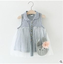 Wholesale Cheap Solid Color Dresses - Wholesale Girl's Shirt Lace Dress Sleeveless Blouse A-line Lace Mini Dress For Little Girl Cheap Summer Thin Blouse Free Shipping
