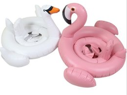 Wholesale White Floating Ball - Baby Swimming Ring Inflatable Flamingos Swan Seat Boat Water Swim Ring Pool Swiming Float Swimming Pool Beach Toys LLFA