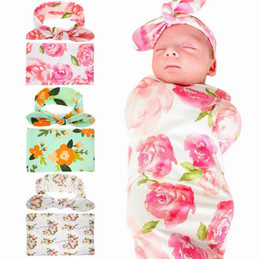 Wholesale Print Blankets - Retail 2017 New Newborn Baby Floral Receiving Blankets Swaddling Cotton Blankets With Headband Photography props 90*90cm PJ008