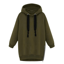 Wholesale Women Fleece Jackets Plus - Wholesale- NEW WOMEN LADIES COAT PLAIN HOODIE SWEATSHIRT WRAP FLEECE HOODED Zipper Split JACKET PLUS SIZE JACKETS 2017 FASHION NEW STYLE