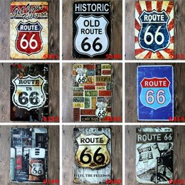 Wholesale Old Bar Signs - Tin Painting U.S. Historic Old Route 66 Metal Poster Wall Decor Bar Home Vintage Craft Art Iron painting Tin Poster Pub Signs