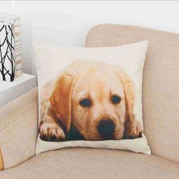 45 cm * 45 cm Golden Dog Cotone Lino Cuscino Divano Decorativo Tiro Cuscino Bulldog Red Dog Casa Sedia Seggiolino Auto Federa Morbida da