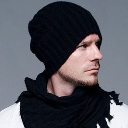 Wholesale Woolen Head Cap - 2016 autumn and winter fashion and black head cap with a set of knitted woolen hat wholesale