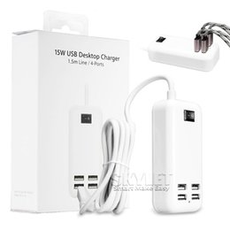 Wholesale Desktop Charging Dock - USB Power Adapter 15W Wall Charger 4 Ports Universal Charger Micro USB Charge Sync Dock Desktop USB Charger with Retail Package