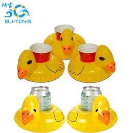 Wholesale Duck Cup - Inflat Cup Holder Inflatable Coasters Duck Cups Holders Floating Bar Coaster Small Yellow Ducks Cute Popular 1 5bj