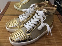 Wholesale Gold Snake Shoes - MBSn994Zb Size 35-47 Men & Women Gold Glitter Mesh Snake Leather With Spikes Toe High Top Fashion Sneakers, Unisex Luxury Brand Casual Shoes