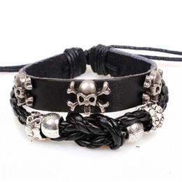 Wholesale Handmade Braided Cord - Punk Skull Bracelet Handmade Braided Leather Bracelet Cords for Men Design Accessories Wholesale Personality Jewelry Xmas Gift