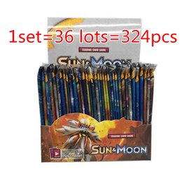 Wholesale Board Settings - 324pcs set Poke Trading Cards Sun and Moon Version Poke Card Children Kids Anime Cartoon Party Board Games Toys DHL NC040