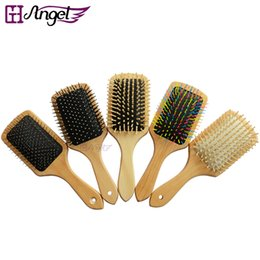 Wholesale Wooden Hairbrushes - GH Angel Wooden Combs Paddle Brush Antistatic Wooden Brush Women Hair Care Healthy Cushion Massage Scalp Hairbrush Comb DHL Free Shipping
