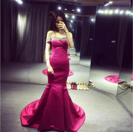 Wholesale Red Carpet Sexy - Sexy Mermaid Prom Dresses Off-Shoulder Red Carpet Dress Evening Wear Sweep Train Satin Cocktail Party Gowns Beaded Custom Made Plus Size