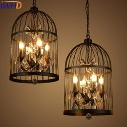 Wholesale Candle Pendant Style Lighting - Wholesale- IWHD 4 Heads Iron Cage Vintage Lamp Industrial Pendant Lights Fixteres Loft Style candle Retro Crystal Pendant Lights Lamparas