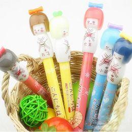 Wholesale Japanese Office Girls - Wholesale-2pcs lot Kawaii Japanese Girl Gel Pen Black ink Cute Gift Stationery Caneta escolar Office & School Supplies WJ0238