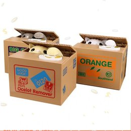 Wholesale Money Gift Boxes - Creative Piggy Bank Itazura Cat Steal Money Coin Box Electric Super cute Different Styles Square Boxes Gift Hot Sell 19 5ac J1 R