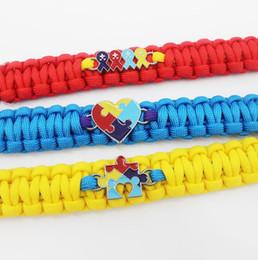 Wholesale Ribbon Autism - 2018 Fashion New Love Autism Awareness Ribbon Puzzle Paracord Survival Friendship Womens Girls Ladies Bracelets Free Shipping