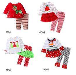 Wholesale Little Girls Outfits Cute - Kids Christmas Suits Deer Tops+Pants Outfits 2017 Children Festival Clothes Little Girls Christmas Dresses+Stripe Pants 2 Pieces Set