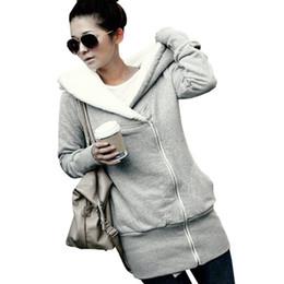 Wholesale Manteau Hoodies - Wholesale- ZANZEA 2017 Womens Hoodies Coat Warm Fleece Zipper Jacket Hooded Outwear Plus Size Casacos Mujer Parka Manteau Oversize Overcoat