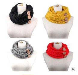 Wholesale Shawl Collar For Woman - Scarves Fashion Women Winter Warm Scarf Two Circle 3 Buttons Knitting Collar Neck Ring Scarf Shawl For Women Christmas Gifts Free Shipping
