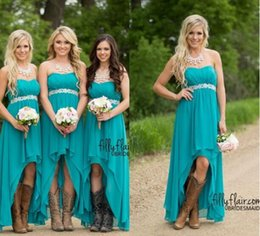 Wholesale Maternity Bridesmaid Dress Hi Lo - Modest Teal Turquoise Bridesmaid Dress 2017 Cheap High Low Country Wedding Guest Dresses Under 100 Beaded Chiffon Junior Plus Size Maternity