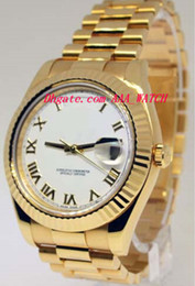 Wholesale Mens Gold Box Bracelet - Stainless Steel Bracelet II 18k Yellow Gold Mens Watch White Roman Box Papers 218238 41mm Automatic Mechanical Movement MAN WATCH Wristwatch
