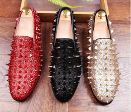Wholesale Micro Hot Dresses - hot sale Handmade Long Gold Rivet Men Red Bottom Loafers Gentleman Luxury Fashion Stress Shoes Men Wedding and Party Slip on Flats