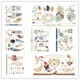 Wholesale Tattoo Paste Paper - 3 d bronzing three-dimensional paper carving tattoo paste Feathers of tribe style tattoo stickers personality fashion factory direct sale