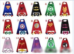 Wholesale Double Star - mixed 30design Double side L70*70cm kids Superhero Cosplay Capes and masks cloak