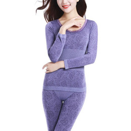 Wholesale Antibacterial Underwear Women - Wholesale- Sexy Ladies Thermal Underwears Seamless Antibacterial Warm Long Johns Women Body Shaped Underwear Sets