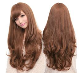 Wholesale Long Straight Black Cosplay Wig - Women Girls Natrual Long Wavy Full Head Wig Cosplay Black Light Brown Dark Brown 68 Cm Synthetic Hair Wigs