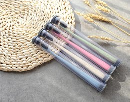 Wholesale Toothbrush For Travel - Envriomental Friendly Wheat Stalk Toothbrush Bamboo Charcoal Teethbrush Soft Portable Toothbrush for Adult and Kids Travel Use PVC Tube Pack