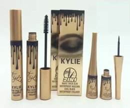 Wholesale 2016 New High quality in1 Kylie Mascara Eyeliner Charming eyes Magic Thick Slim Waterproof Mascara Eyeliner Black DHL