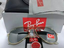 Wholesale Mens Sunglasses High Quality - High Quality Ray 3025 Pilot Sunglasses Designer bans Brand Mens Womens Sun Glasses Eyewear Gold Metal Green 58mm Glass Lenses Brown