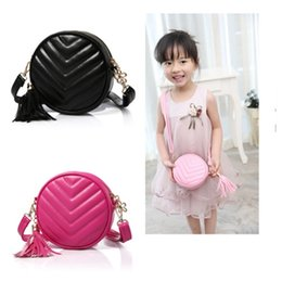 Wholesale Kid Princess Pendants - New style Round Tassels pendant Fashion bags For Kids Girls Fashion Trend children Princess one-shoulder PU Leather bags Handbags MD039