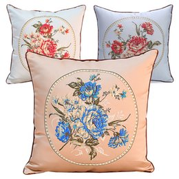 Wholesale Kids Flower Pillow - 45*45cm Embroidery Pillow Case Pillow Cover Classical Flower Cushion Cover Throw Pillow Cushion Covers Free Shipping