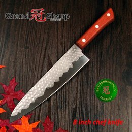 "Wholesale Hammered Knives - GRANDSHARP 8"" inch Chef Knife German Stainless Steel 1.4116 Hammered Blade Pakka Handle Kitchen knife Super Sharp FREE SHIPPING"
