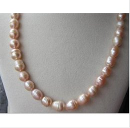 "Wholesale 12mm Rope Chain - beautiful 9-12MM natural pink south sea Pearl Necklace 18"" 14K yellow golden cla"