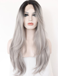 Wholesale Hair Replacement Women - Ombre Gray 2 Tones Synthetic Lace Front Wig Dark Roots Long Natural Straight Silver Grey Replacement Hair Wigs For Women Heat Resistant Fibe
