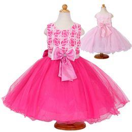 Wholesale Kids Elegant Dresses - Summer flower princess girl dress lace rose Party Wedding Birthday girls dresses clothes princess tutu kids dress elegant